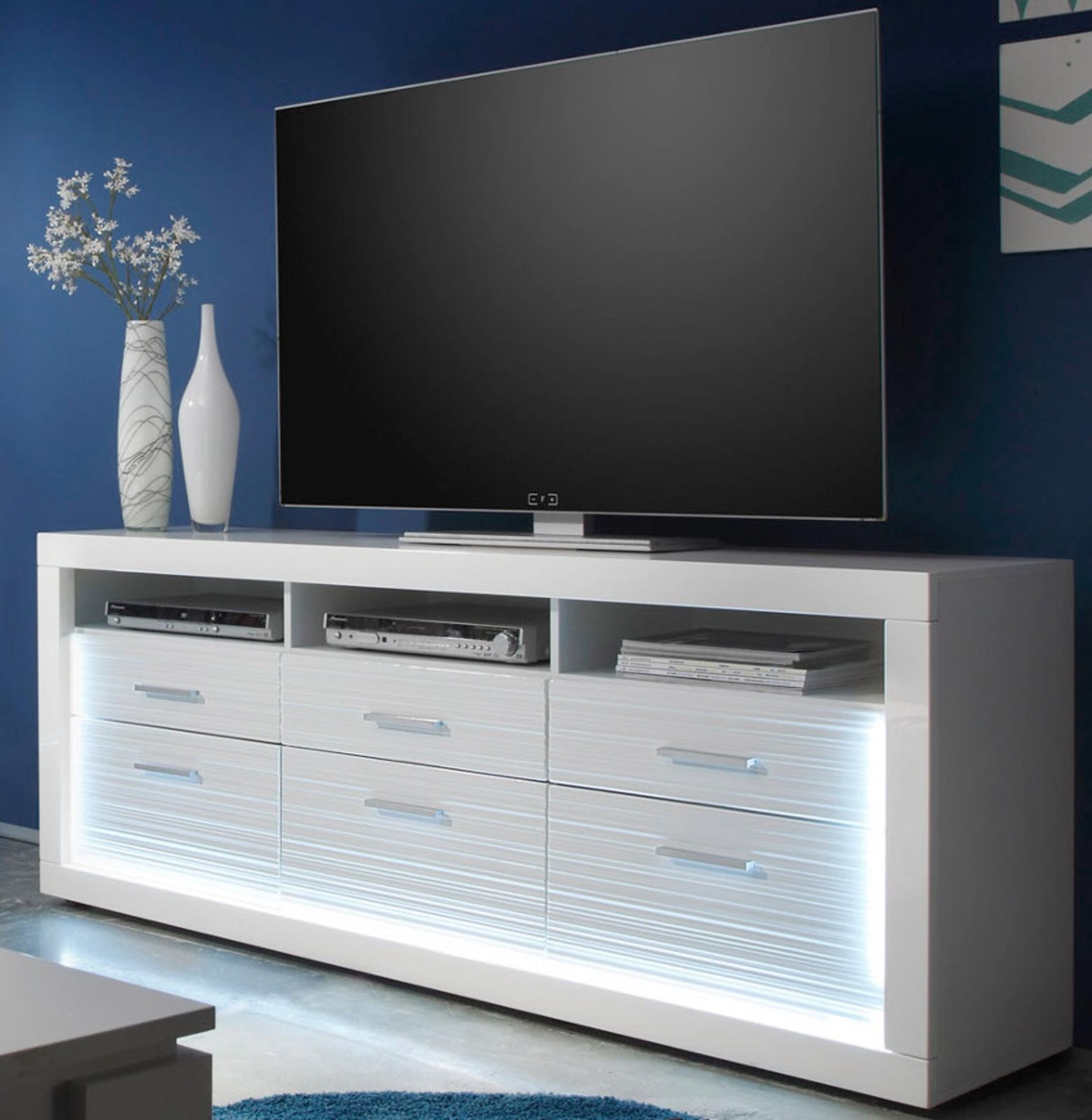 Tv lowboard led  TV Unterteil weiß Hochglanz Rillenoptik mit LED