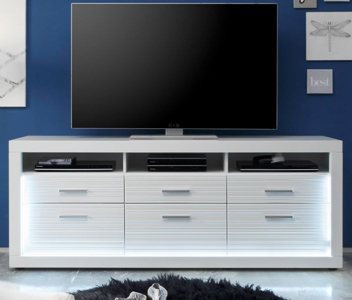 tv unterteil wei hochglanz rillenoptik mit led. Black Bedroom Furniture Sets. Home Design Ideas