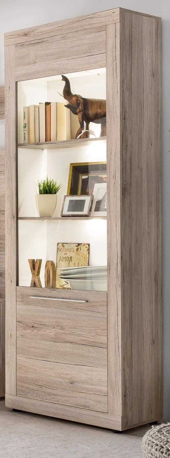 vitrinenschrank passat eiche sand g nstig kaufen. Black Bedroom Furniture Sets. Home Design Ideas