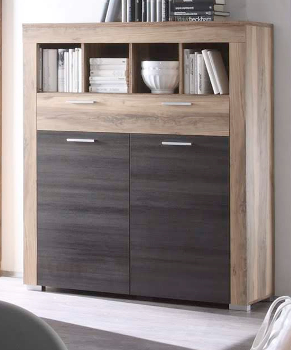 Regal nussbaum satin badezimmer for Badezimmer highboard