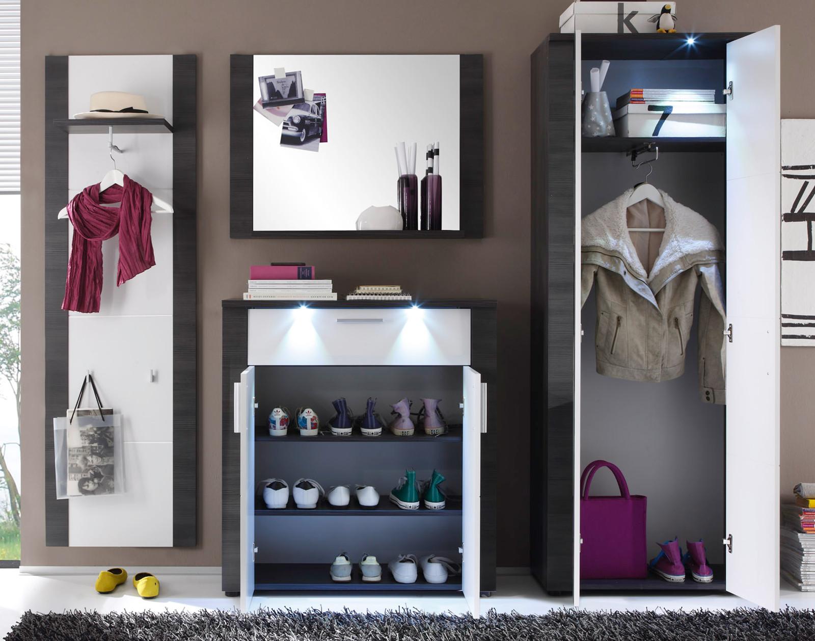 Garderobe express esche grau wei g nstig kaufen for Garderobenpaneel grau