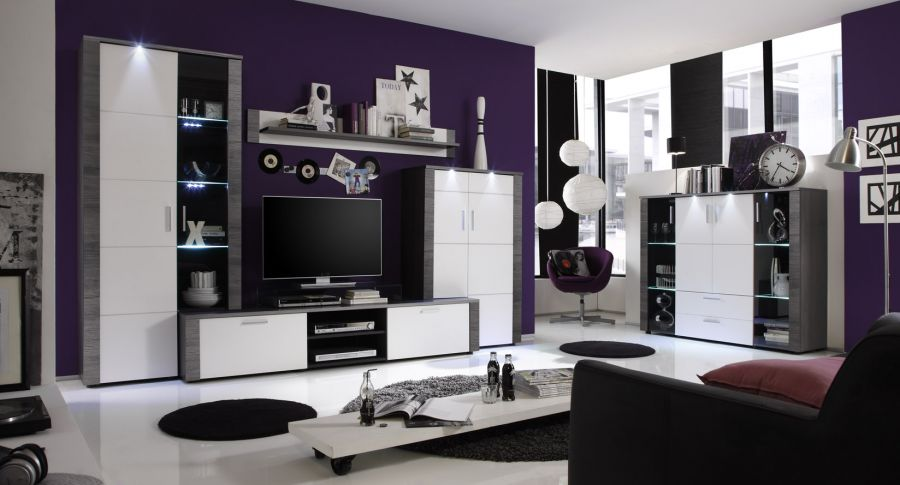 wohnkombination wohnwand esche grau wei 4teilig. Black Bedroom Furniture Sets. Home Design Ideas