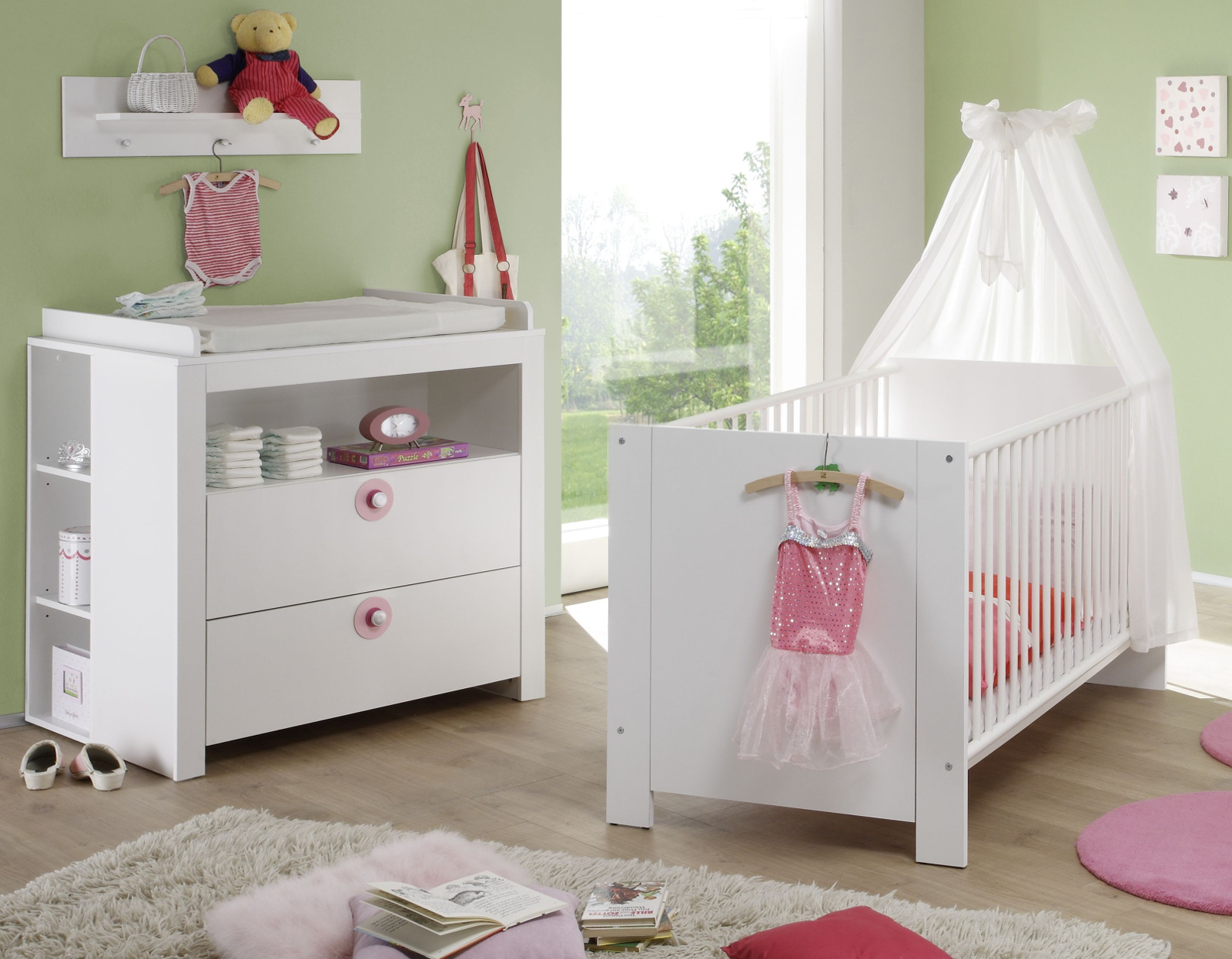 babyzimmer wickelkommode olivia regal wei rosa. Black Bedroom Furniture Sets. Home Design Ideas
