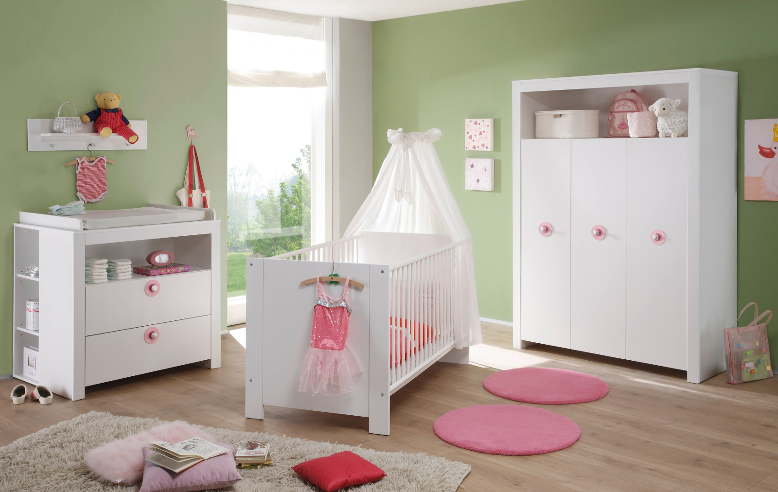 babyzimmer olivia 5 teilig mit regalen wei design. Black Bedroom Furniture Sets. Home Design Ideas