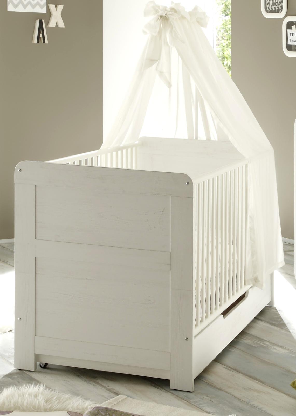 babyzimmer babybett kinderbett landi anderson pinie weiss 76 x 84 x 144 cm