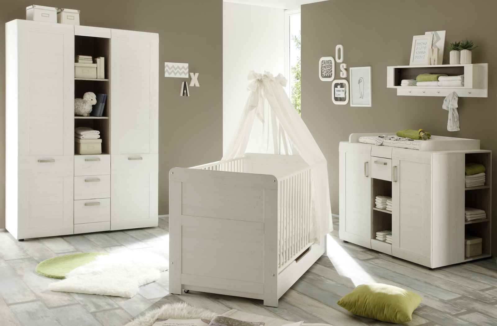 babyzimmer komplett 3 teilig pinie wei struktur. Black Bedroom Furniture Sets. Home Design Ideas