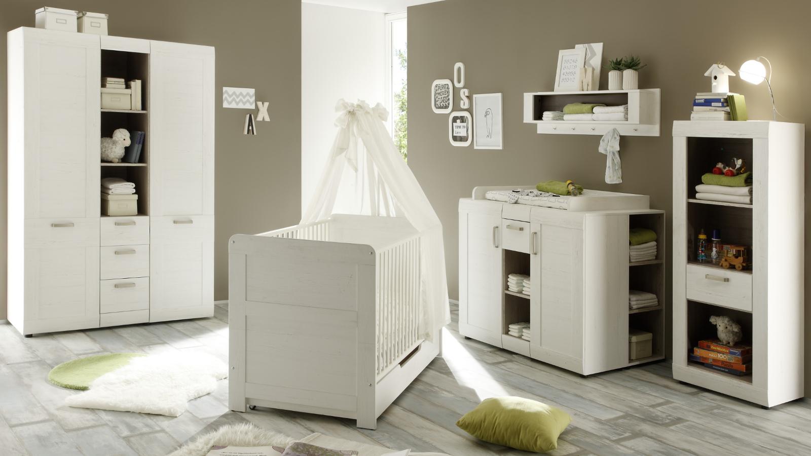 babyzimmer komplett 3 teilig pinie wei struktur. Black Bedroom Furniture Sets. Home Design Ideas