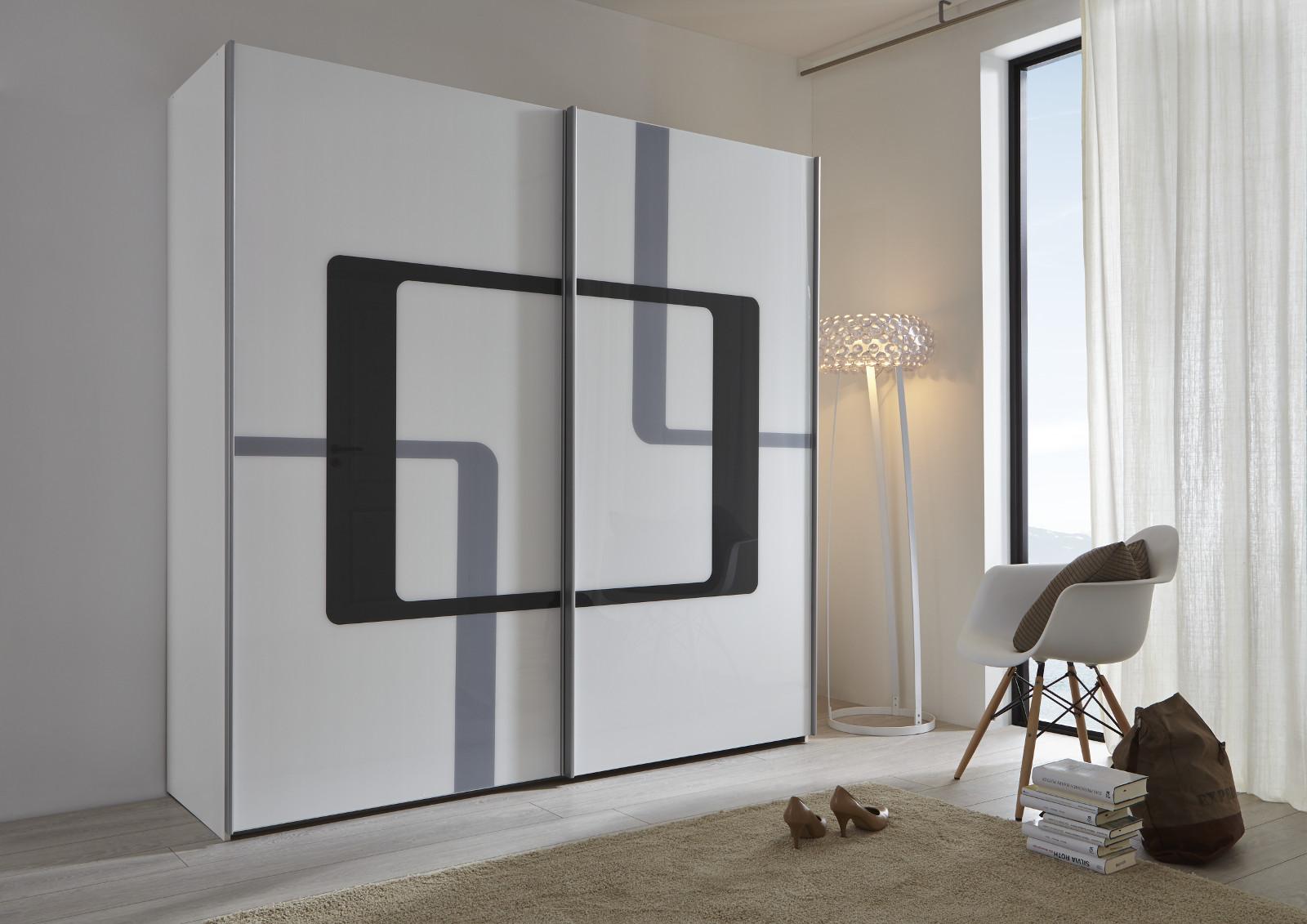 schwebet renschrank schwarz spiegel rundspiegel. Black Bedroom Furniture Sets. Home Design Ideas