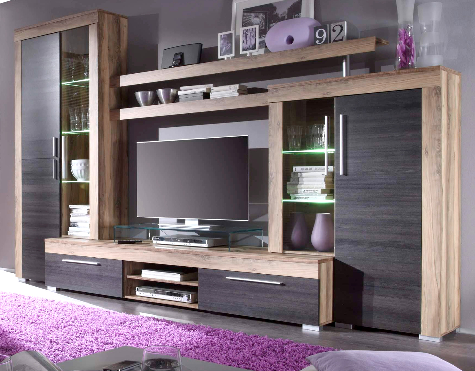 wohnwand schrankwand boom nussbaum touchwood. Black Bedroom Furniture Sets. Home Design Ideas