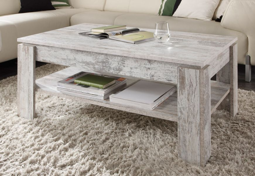 Couchtisch Shabby Chic Look Canyon Pine weiß
