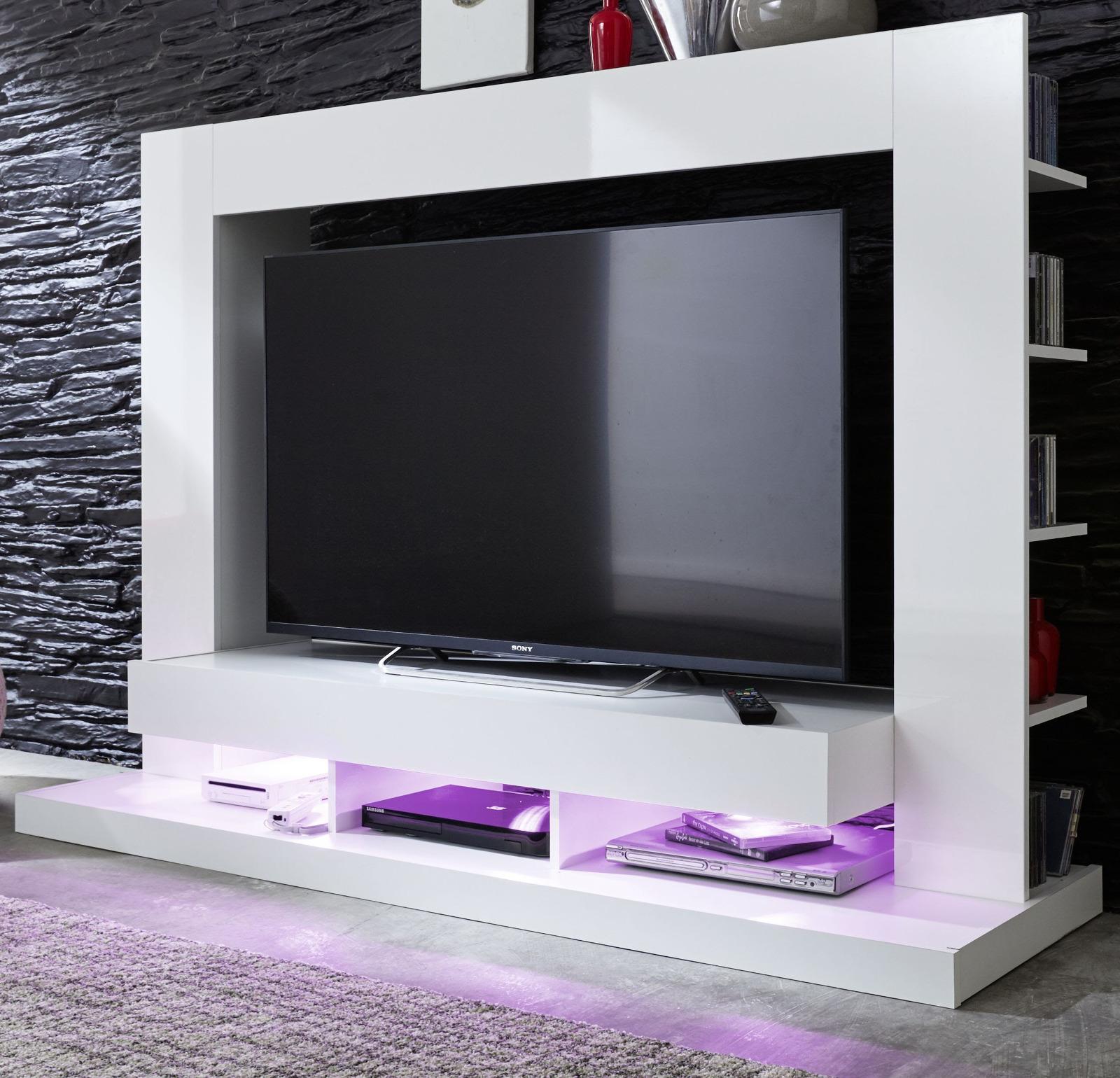 wohnwand tv wand medienwand wei glanz fernsehschrank mediawand cyneplex led rgb ebay. Black Bedroom Furniture Sets. Home Design Ideas