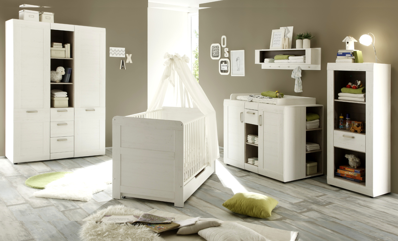 wickelkommode komplett pinie weiß struktur - Garderobe Kinderzimmer Weis