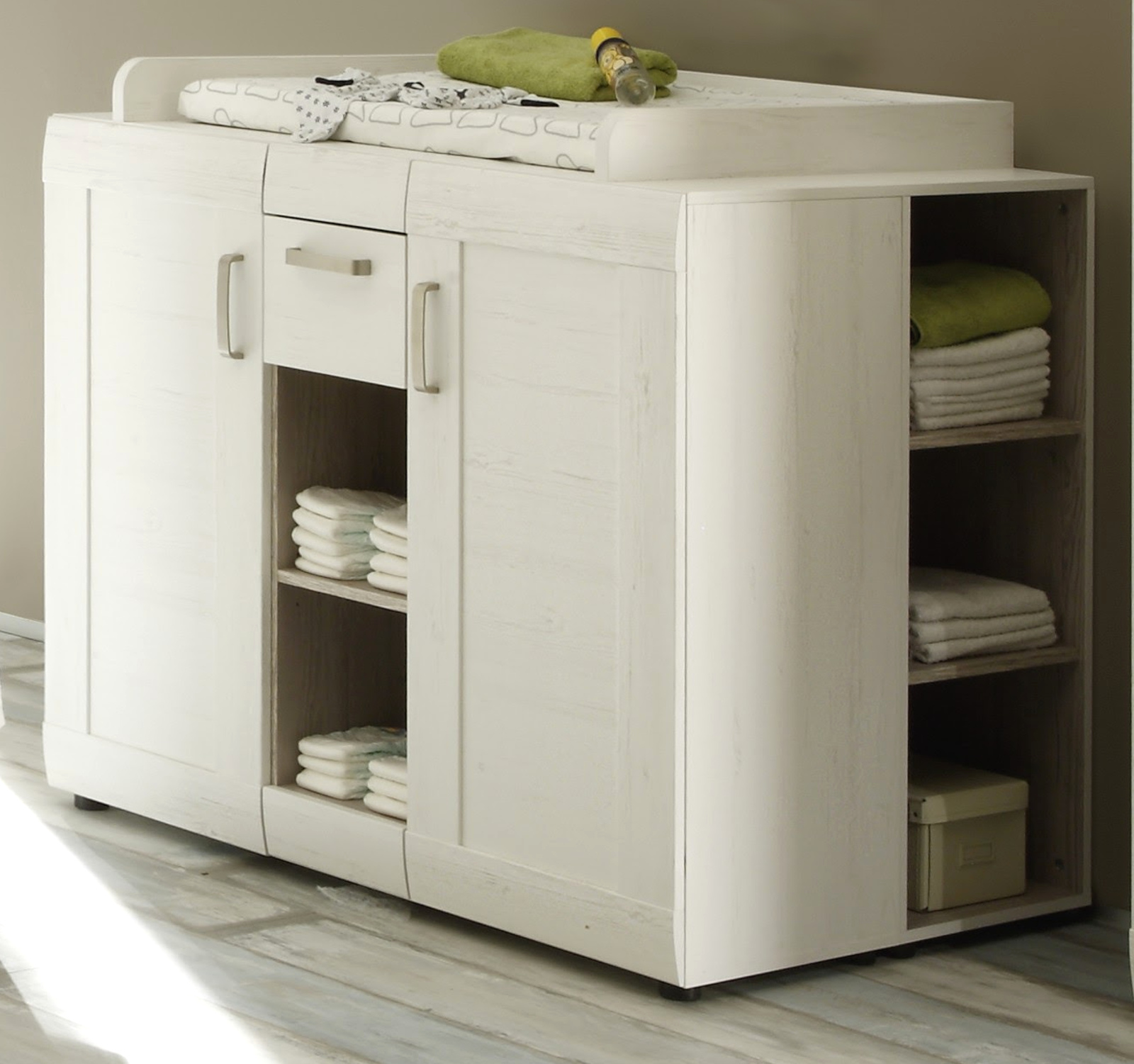 wickelkommode als set in pinie wei. Black Bedroom Furniture Sets. Home Design Ideas