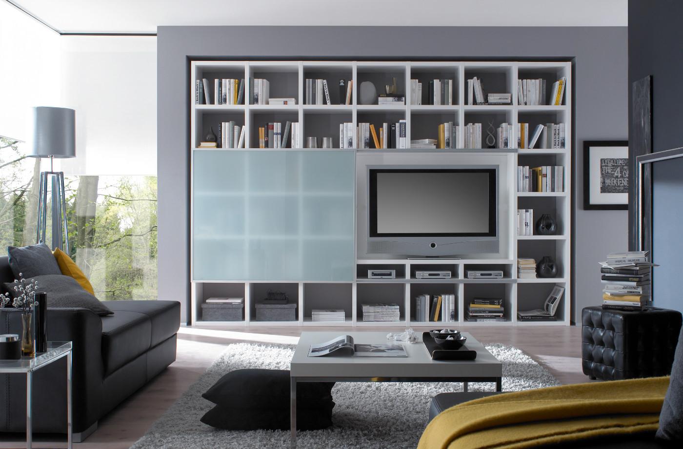 Wohnwand Bücherwand Hochglanz weiß TV Schiebetür