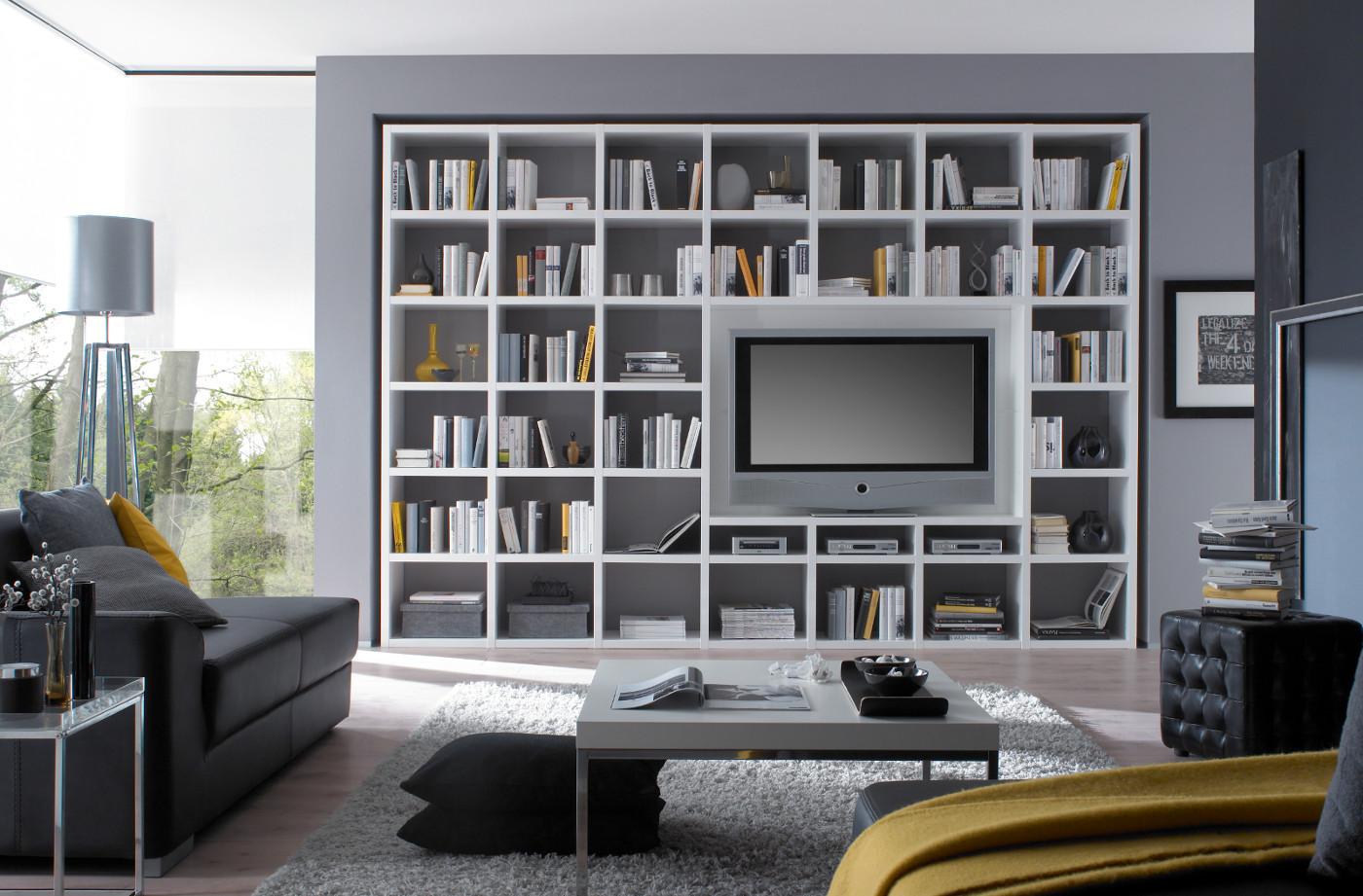 Wohnwand Bücherwand Hochglanz weiß TV Schiebetür ...