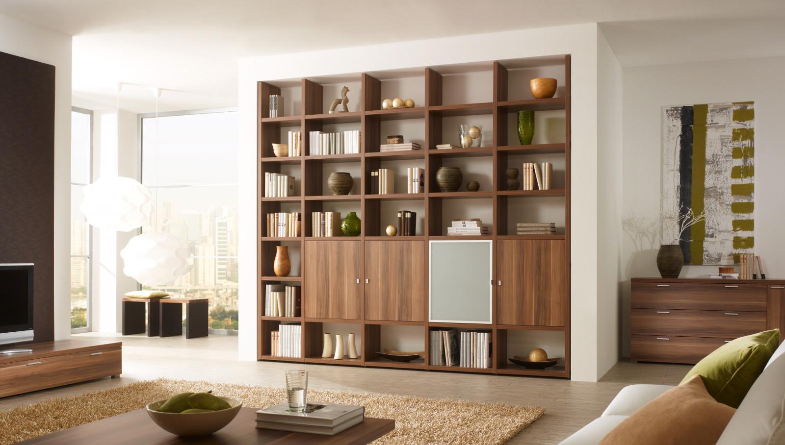 wohnwand b cherwand bibliothek walnuss ma gefertig. Black Bedroom Furniture Sets. Home Design Ideas