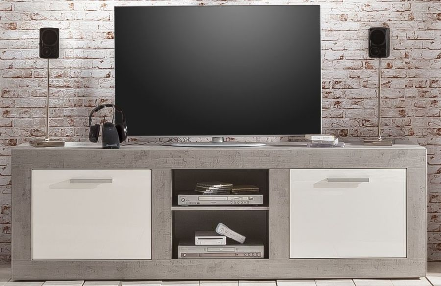 tv unterteil set pure wei hochglanz betonoptik. Black Bedroom Furniture Sets. Home Design Ideas