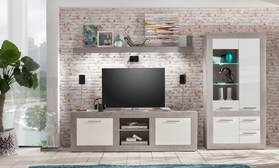 tv unterteil pure wei hochglanz industrie beton. Black Bedroom Furniture Sets. Home Design Ideas
