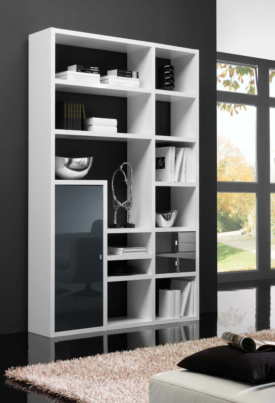 sideboard kommode hochglanz wei schwarz. Black Bedroom Furniture Sets. Home Design Ideas