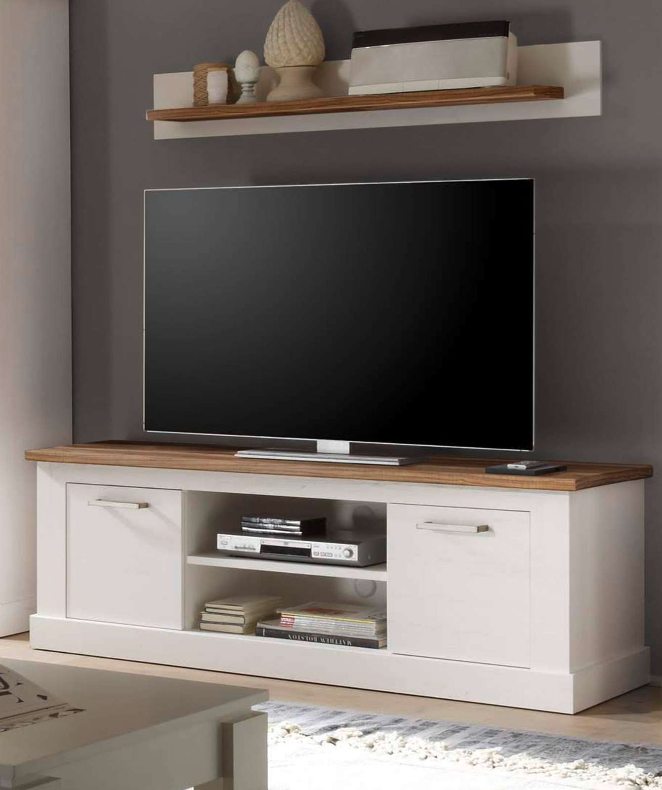 tv unterteil anderson pinie wei nussbaum. Black Bedroom Furniture Sets. Home Design Ideas