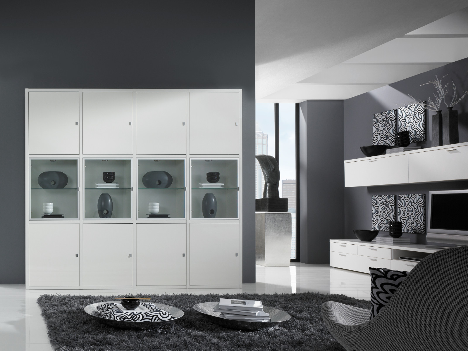 wohnwand b cherwand lack wei matt schiebet r glas. Black Bedroom Furniture Sets. Home Design Ideas