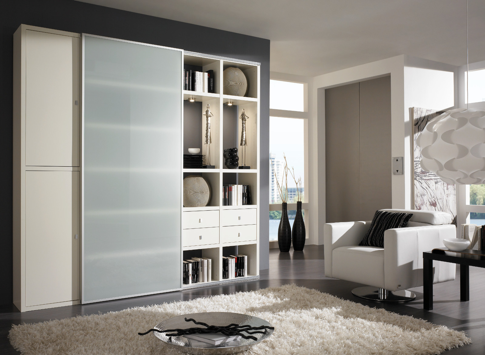 wohnwand b cherwand lack wei matt vitrinenf cher. Black Bedroom Furniture Sets. Home Design Ideas