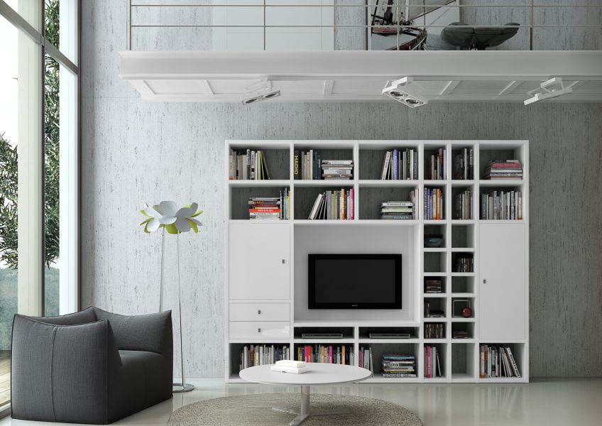 wohnwand b cherwand lack wei hochglanz tv fach. Black Bedroom Furniture Sets. Home Design Ideas