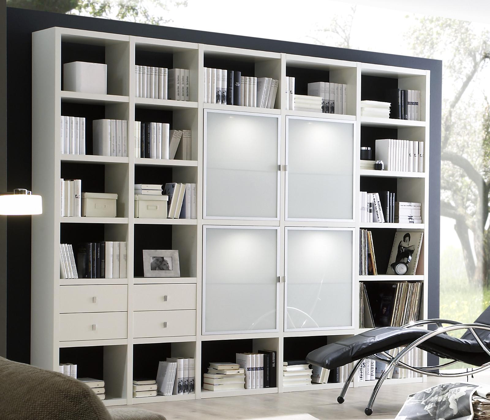 wohnwand b cherwand lack wei matt glas satiniert. Black Bedroom Furniture Sets. Home Design Ideas