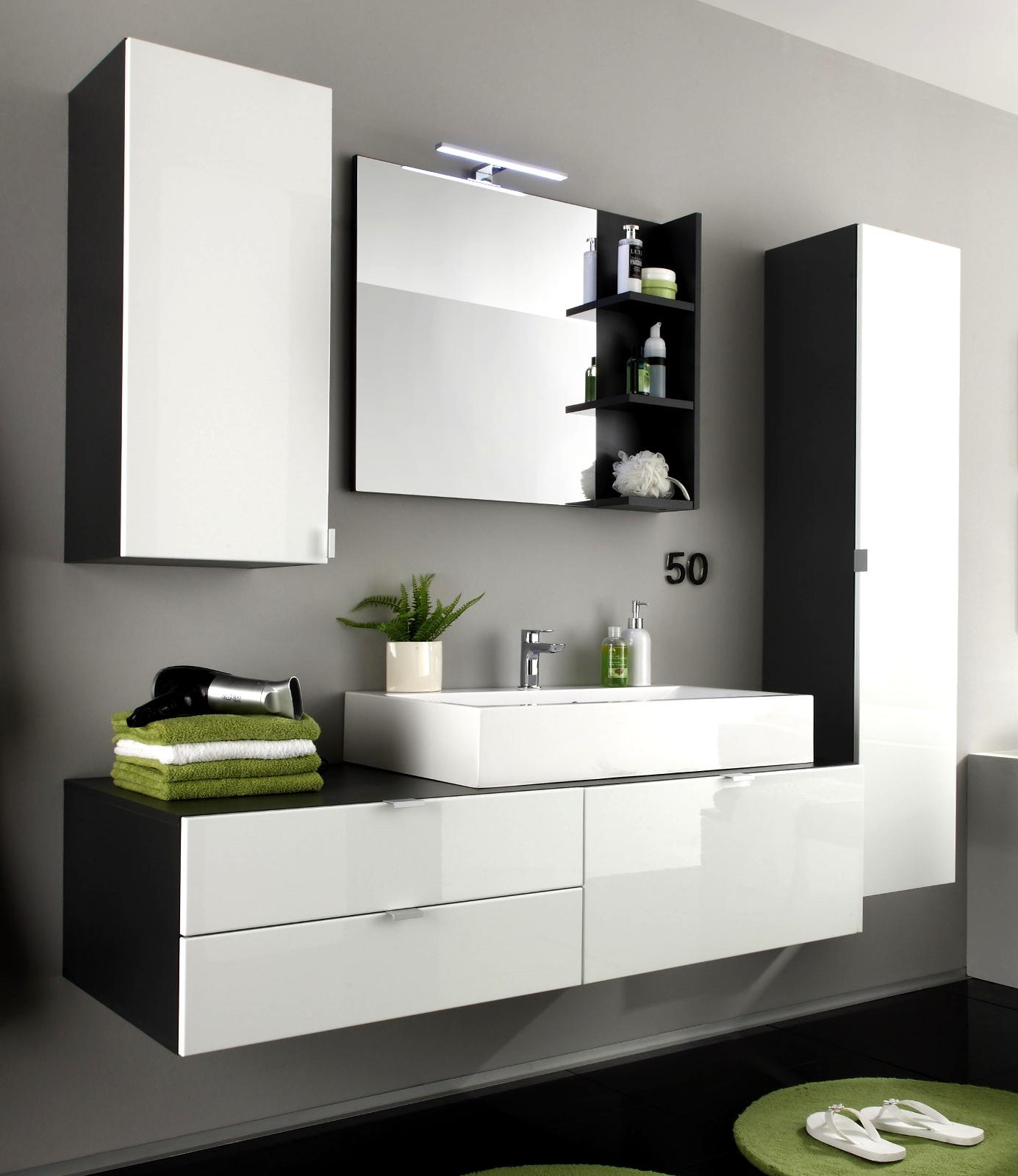 Badezimmermöbel doppelwaschbecken grau  Badmöbel Beach Weiß/Grau günstig online kaufen
