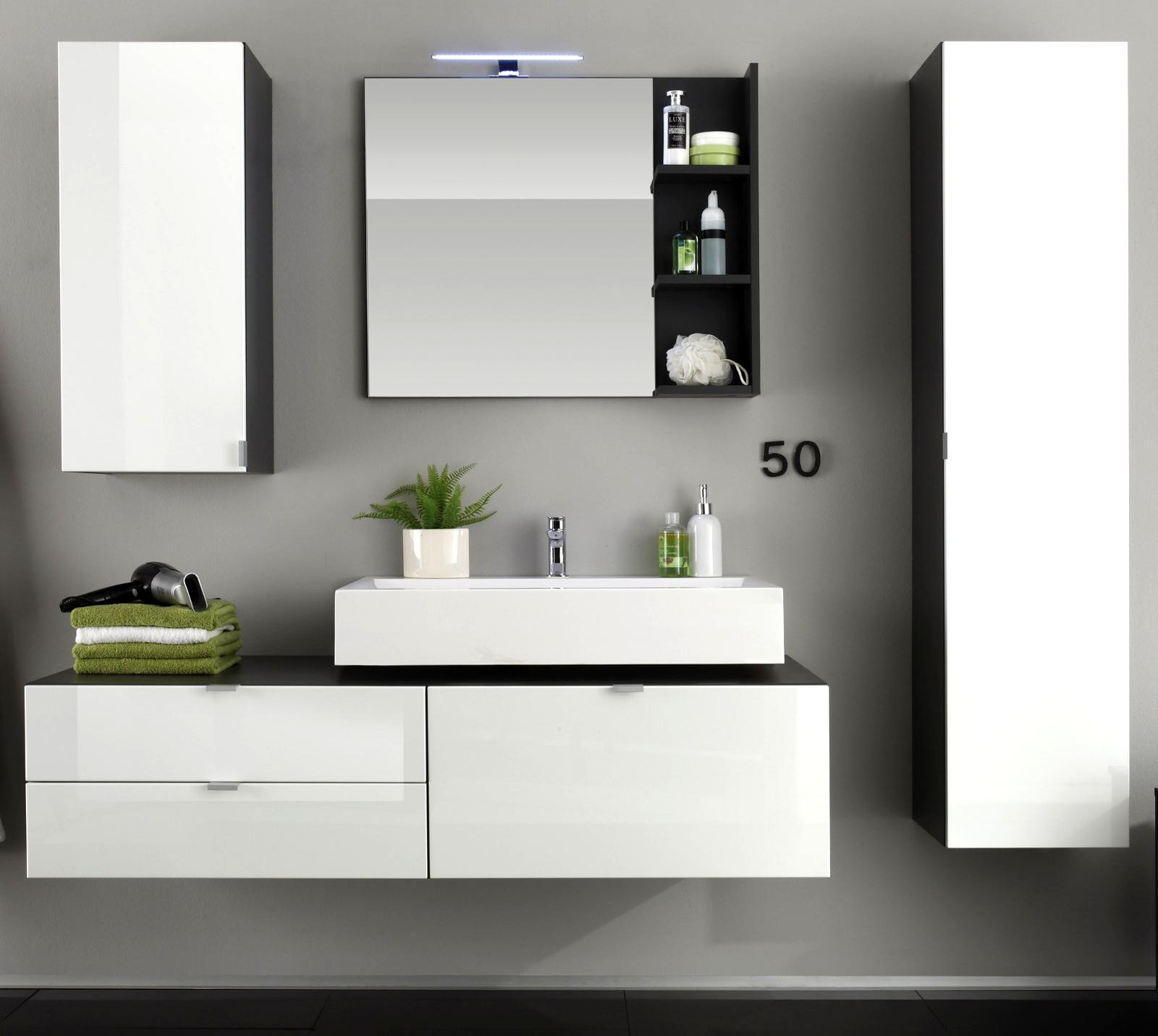 badm bel badezimmer set bad komplett mit waschbecken wei hochglanz grau beach. Black Bedroom Furniture Sets. Home Design Ideas