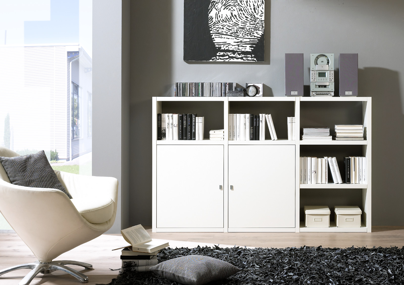 sideboard b cher aktensideboard lack wei matt. Black Bedroom Furniture Sets. Home Design Ideas