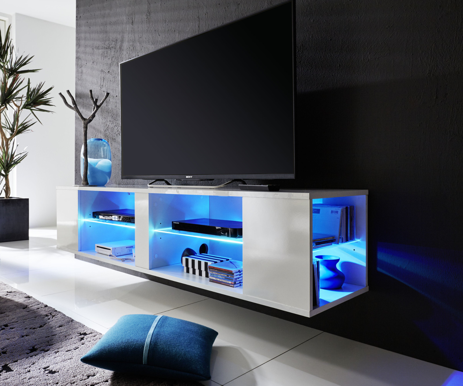 lowboard tv unterteil tv board h ngend in wei gl nzend henry mit beleuchtung ebay. Black Bedroom Furniture Sets. Home Design Ideas