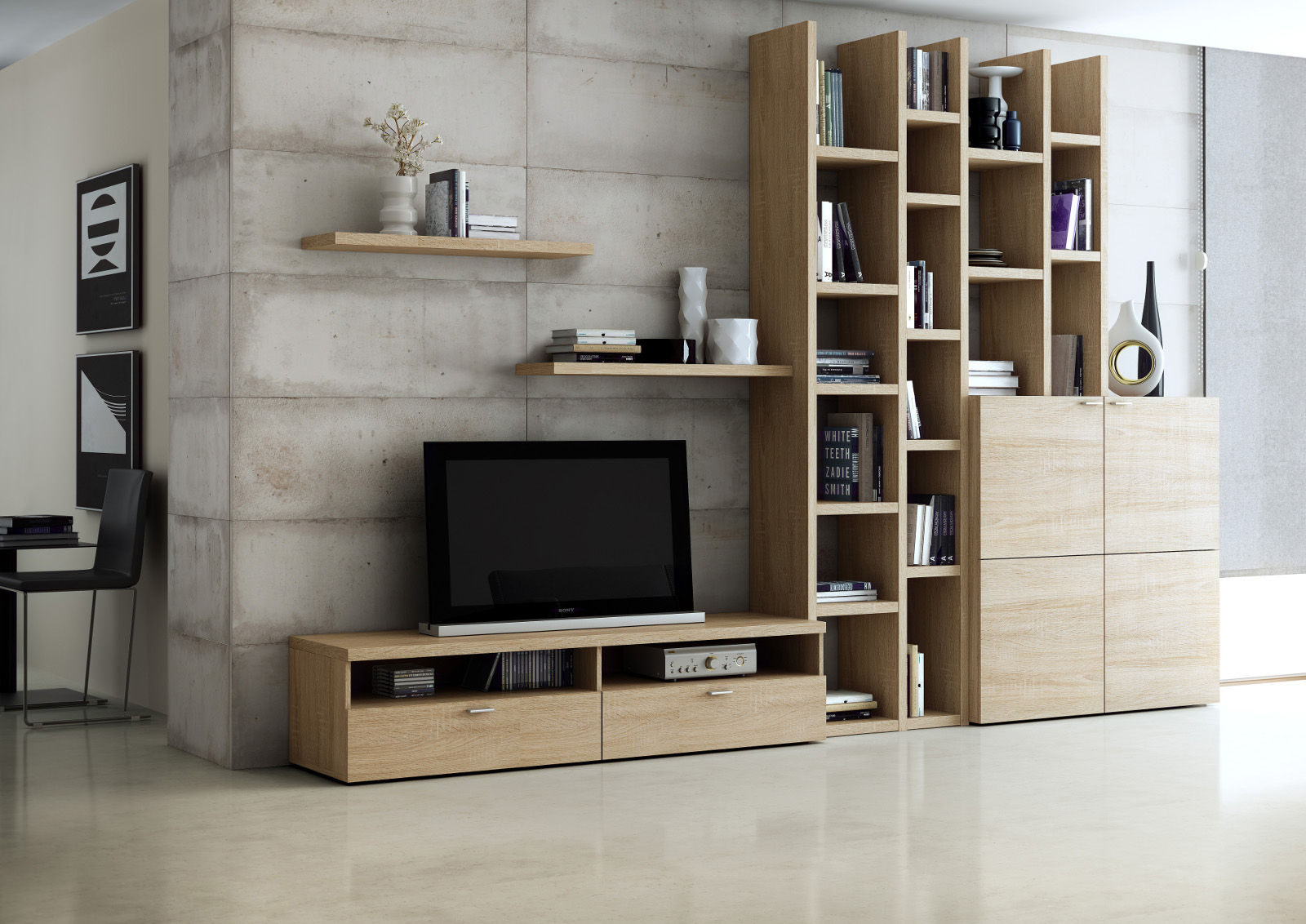 wohnwand b cherwand lack eiche natur tv fach. Black Bedroom Furniture Sets. Home Design Ideas