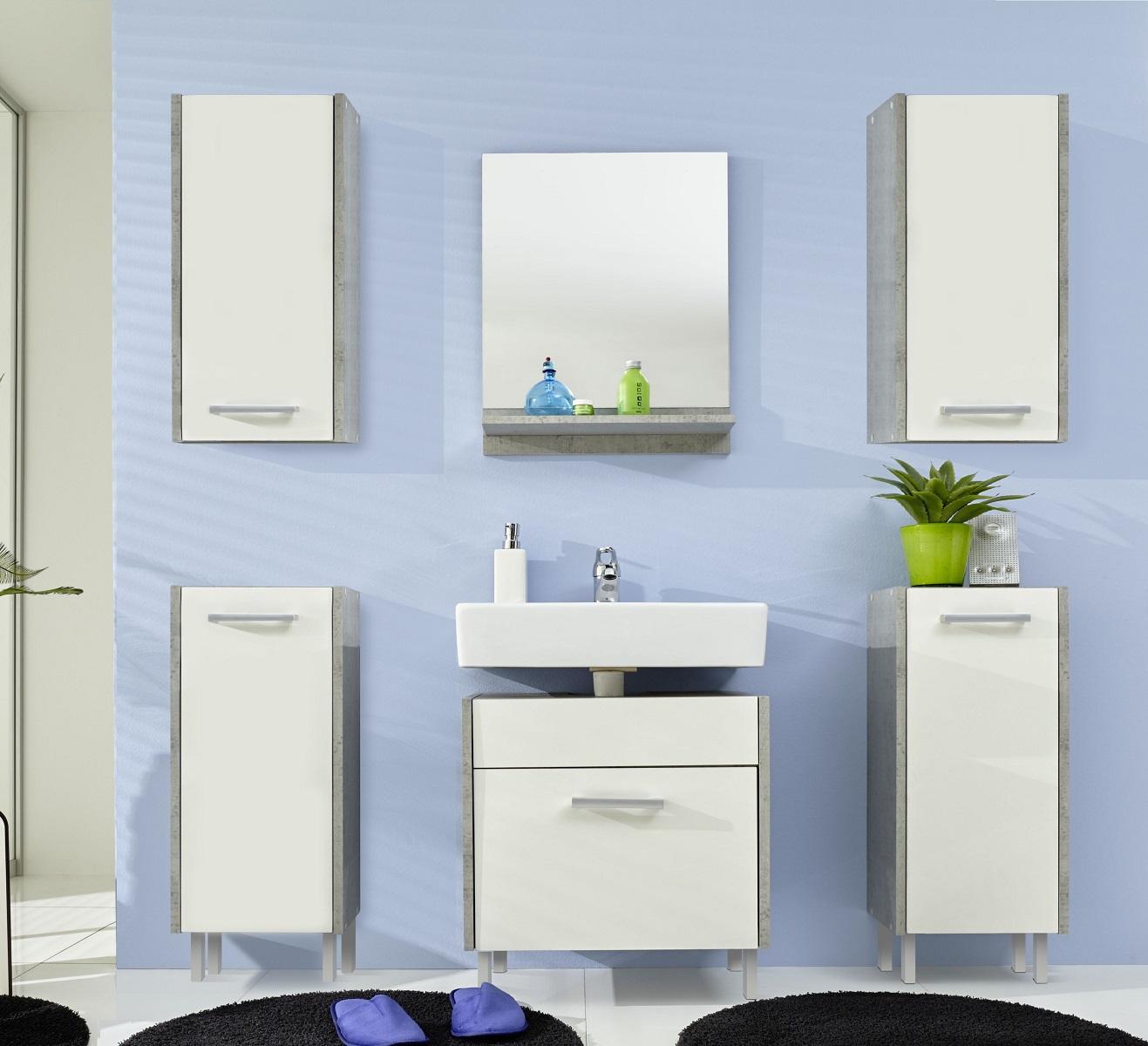Badmöbel Splash Weiß/Beton günstig online kaufen | {Badmöbel weiss grau 12}