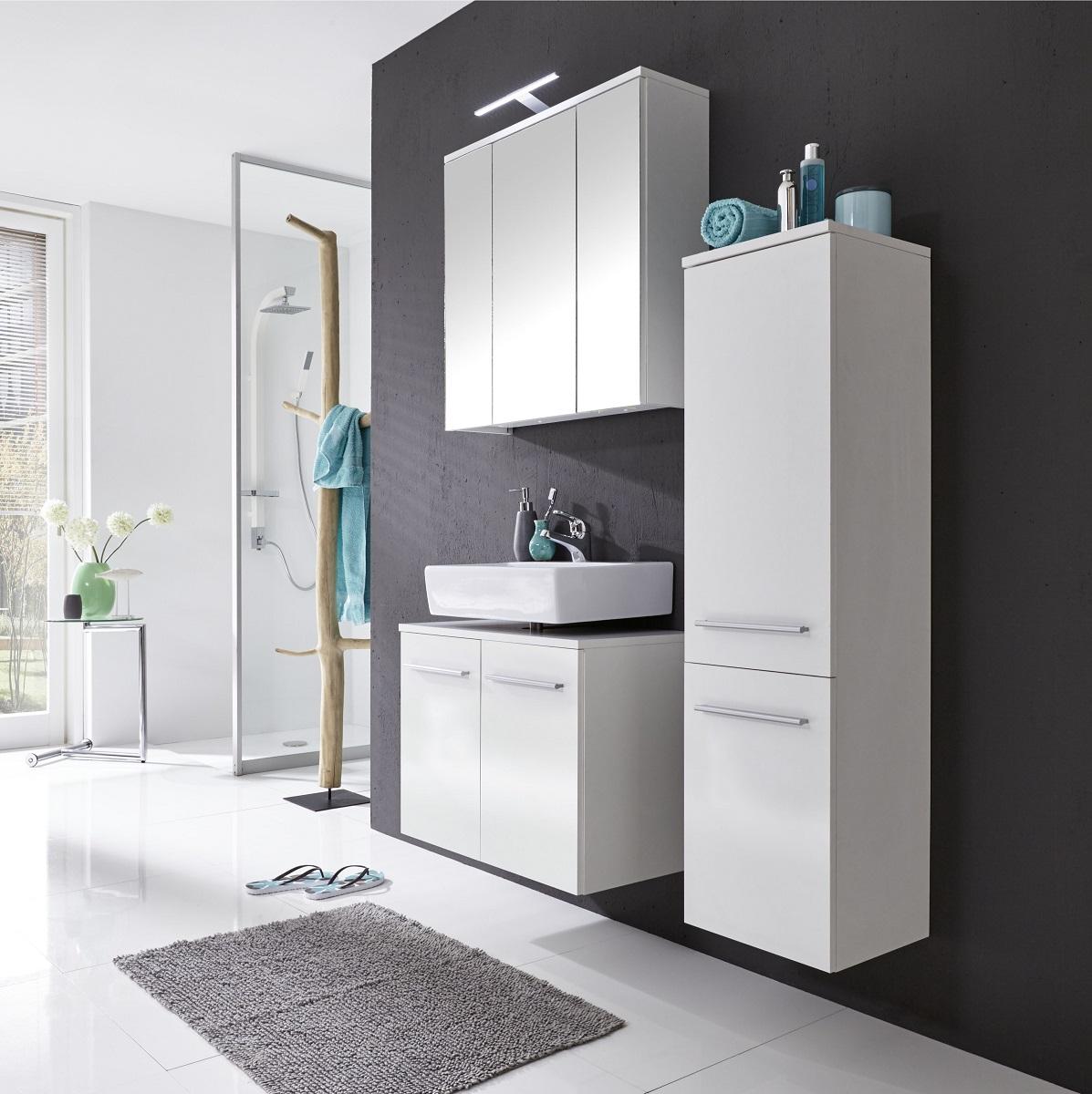 waschbeckenunterschrank bad schrank wei glanz xara badezimmerschrank h ngend ebay. Black Bedroom Furniture Sets. Home Design Ideas