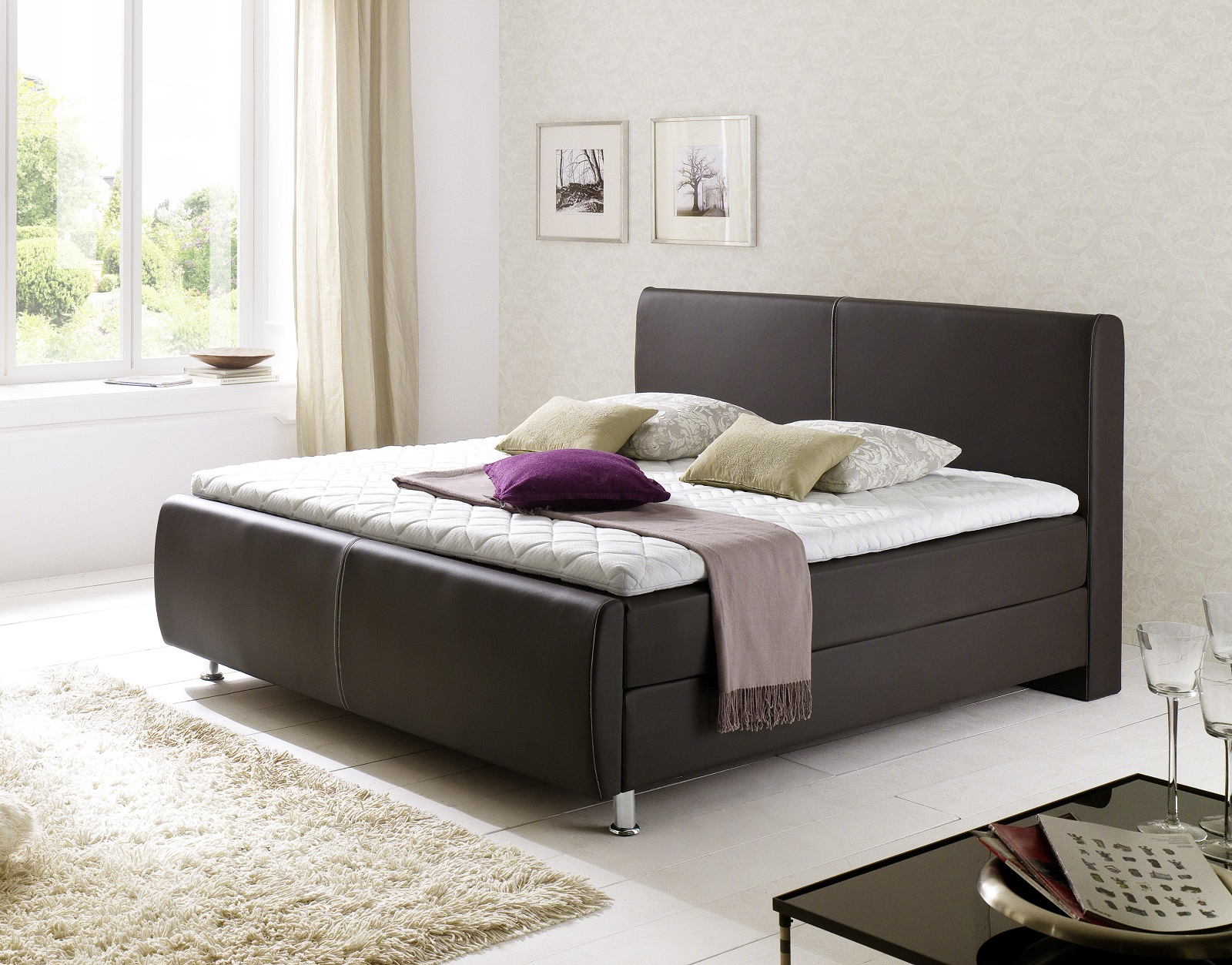 boxspringbett amondo braun 180cm x 200cm. Black Bedroom Furniture Sets. Home Design Ideas