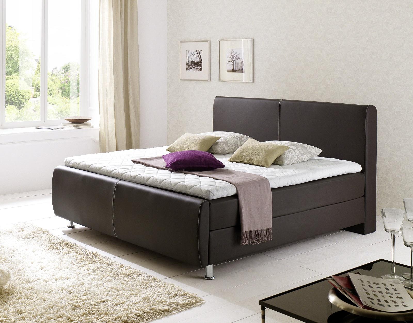 boxspringbett amondo braun 140cm x 200cm. Black Bedroom Furniture Sets. Home Design Ideas