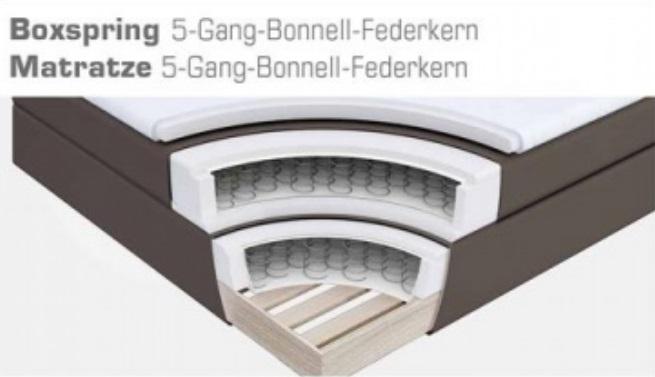 Bonellfederkernmatratze  Boxspringbett Amond schwarz | 180cm x 200cm
