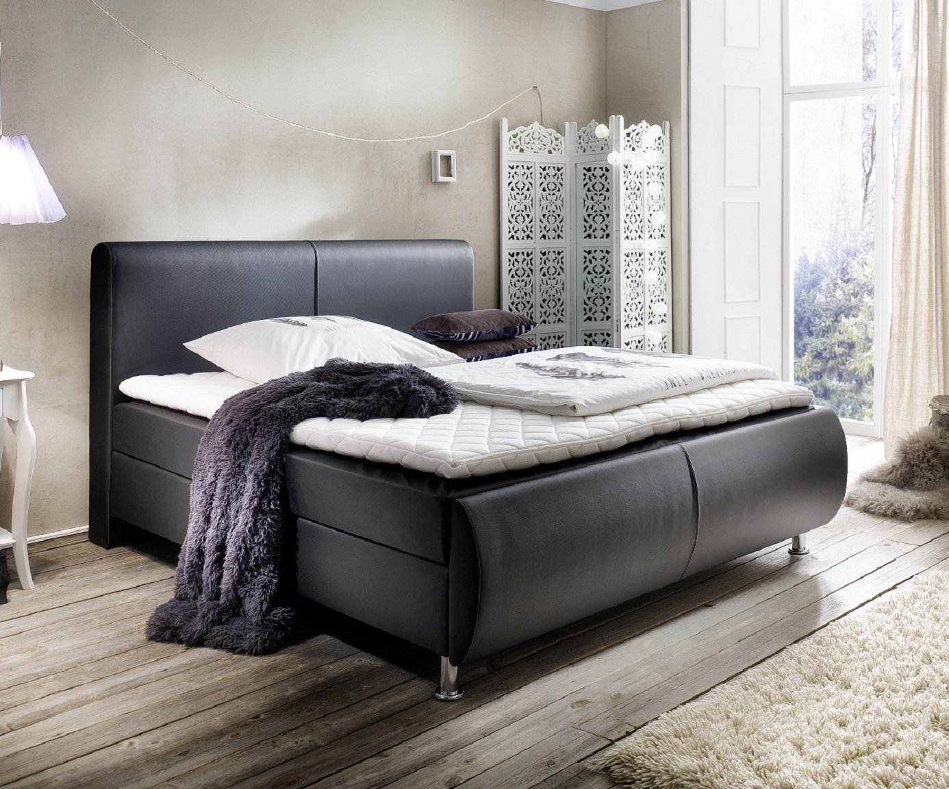 boxspringbett amondo schwarz 140cm x 200cm. Black Bedroom Furniture Sets. Home Design Ideas
