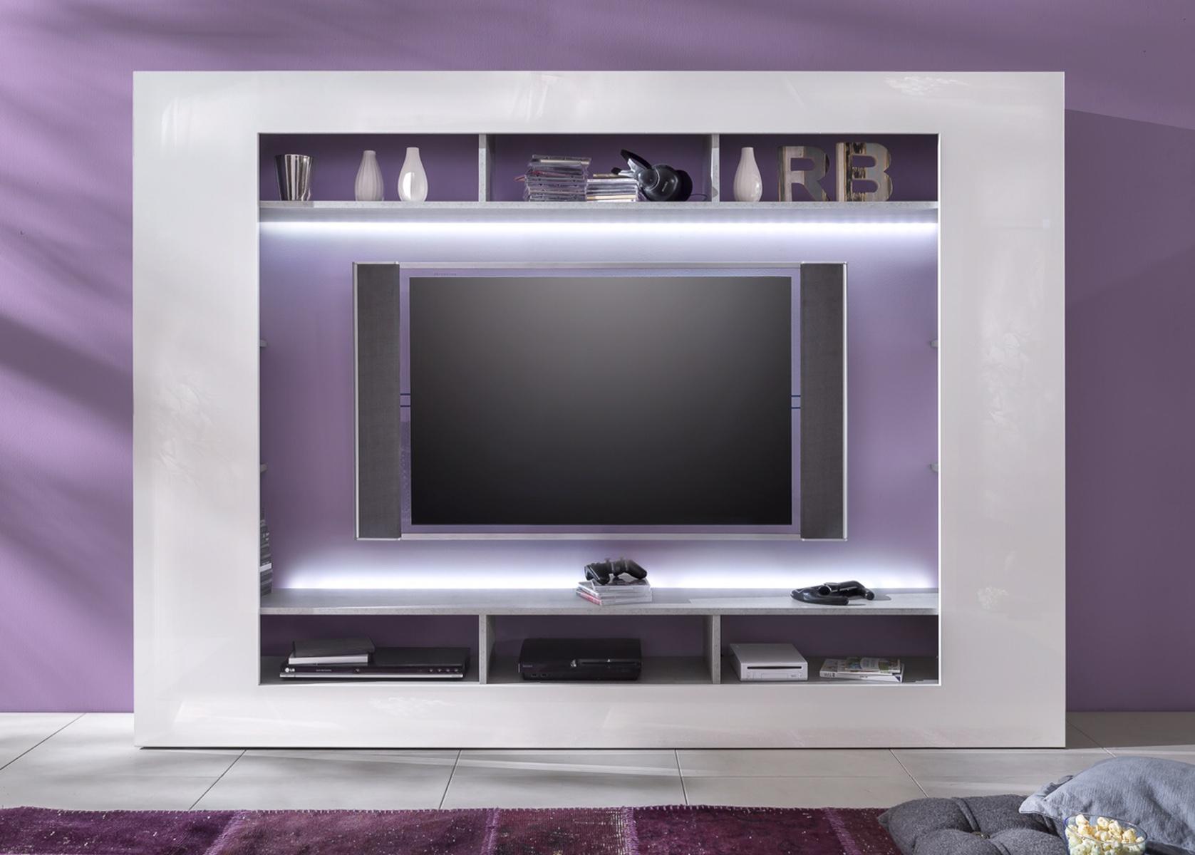 Wohnwand weiiss hochglanz und beton design fernsehschrank hifi ...