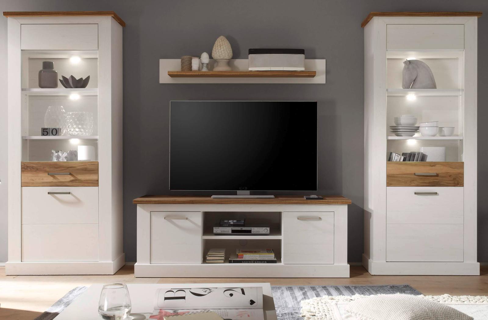 wohnzimmer m bel wohnwand wei pinie nussbaum satin. Black Bedroom Furniture Sets. Home Design Ideas
