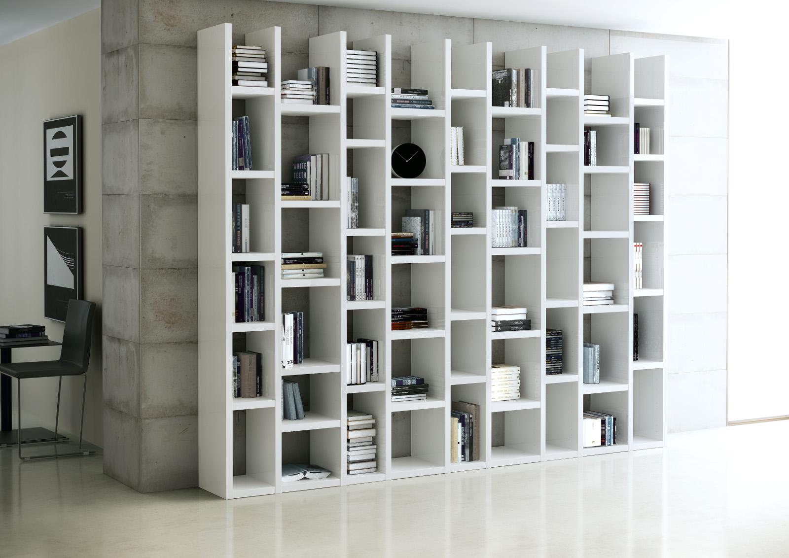 Bücherwand Bücherregal Raumteiler MDor Dekor Lack weiß Hochglanz