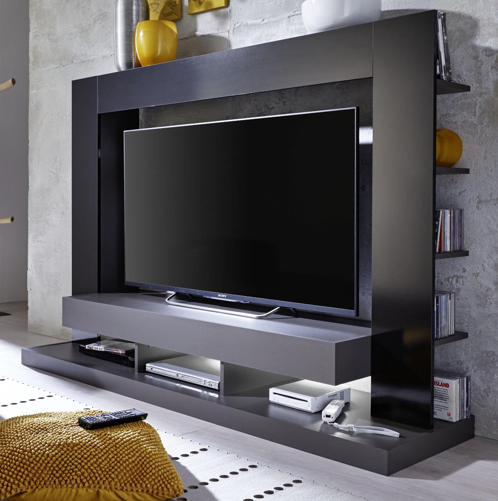 Mediawand Cyneplex schwarz grau glänzend - guenstigeinrichten.de