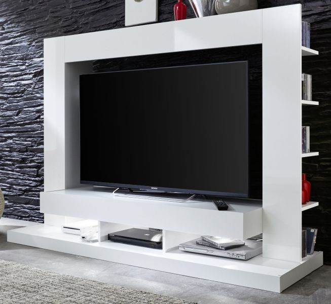 tv fernseh schrank mediawand weiss glanz medienwand wohnwand hifi m bel cyneplex ebay. Black Bedroom Furniture Sets. Home Design Ideas