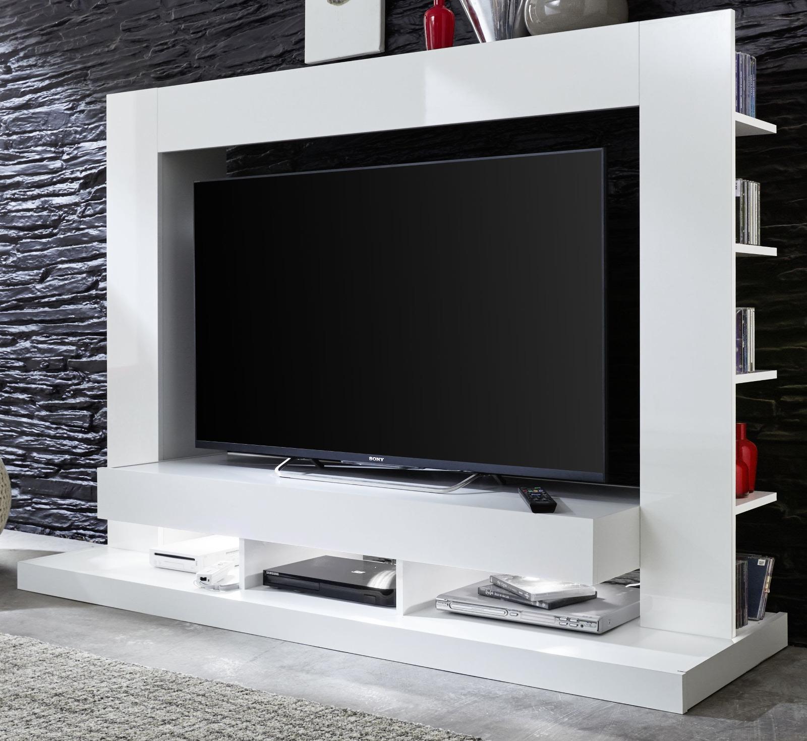 Fernsehschrank weiß  Mediawand Cyneplex weiß glänzend