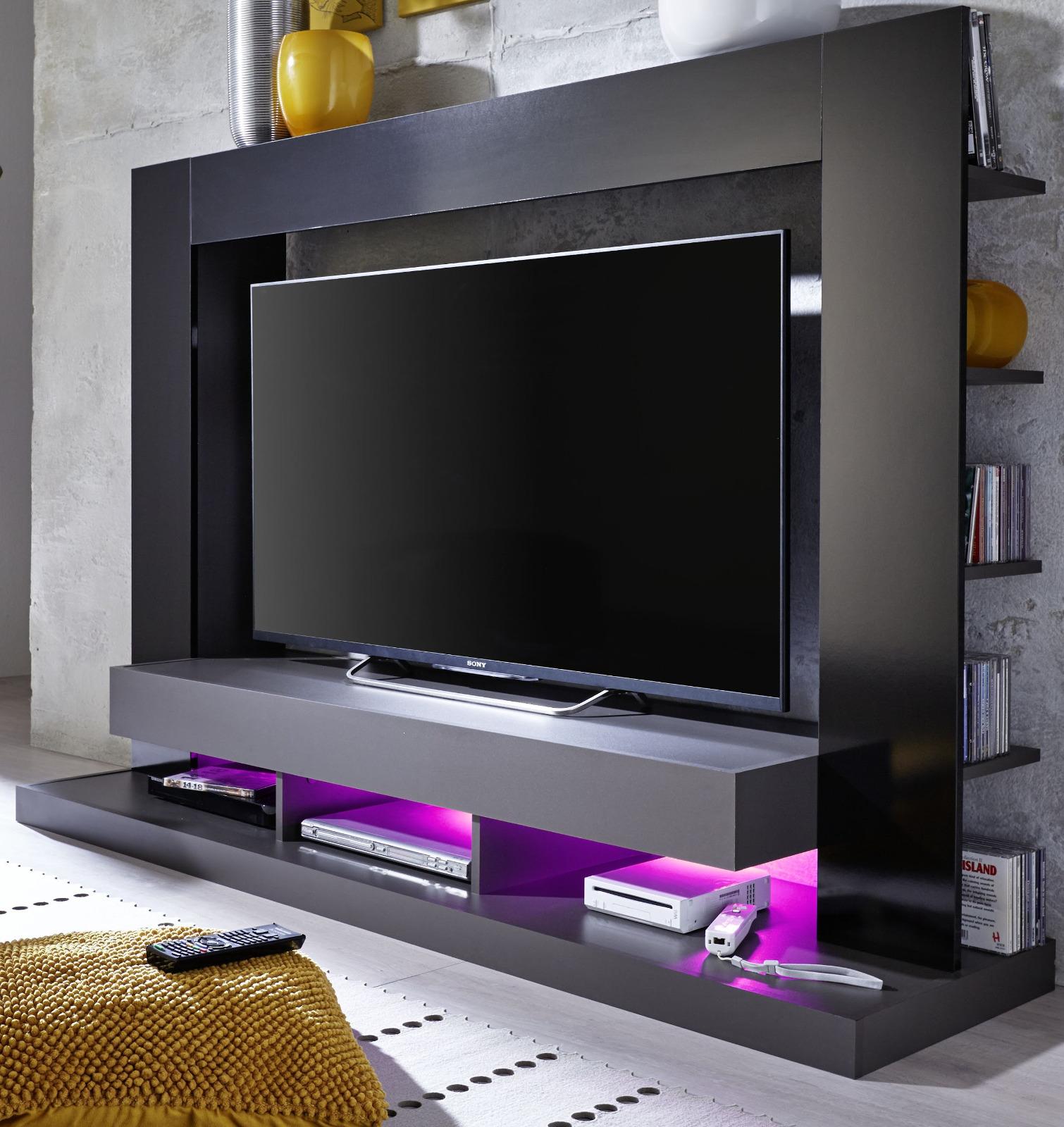 Mediawand Cyneplex schwarz grau glänzend  ~ Tv Schrank Grau