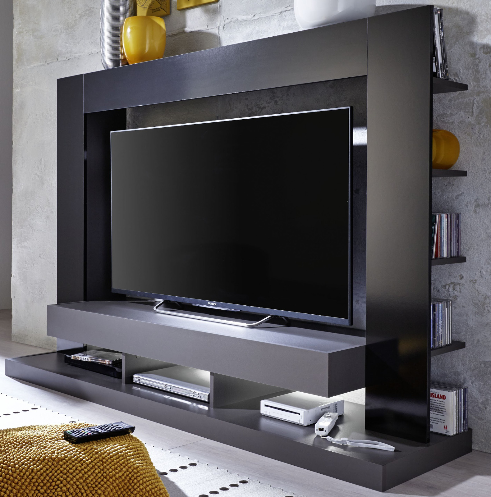mediawand cyneplex schwarz grau gl nzend. Black Bedroom Furniture Sets. Home Design Ideas