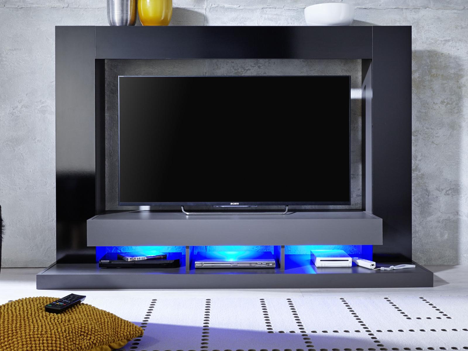 Mediawand Cyneplex In Schwarz Und Grau Glanz Tv Schrank 164 Cm Tv Bis 55 Optional Mit Led Beleuchtung