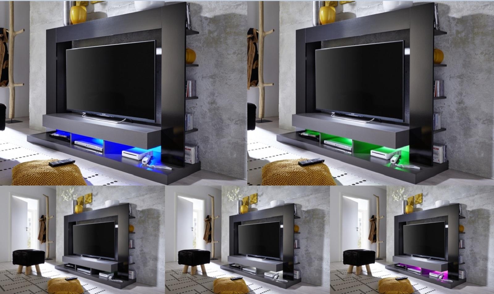 Wohnwand fernseh schrank mediencenter schwarz glanz grau for Wohnwand grau schwarz
