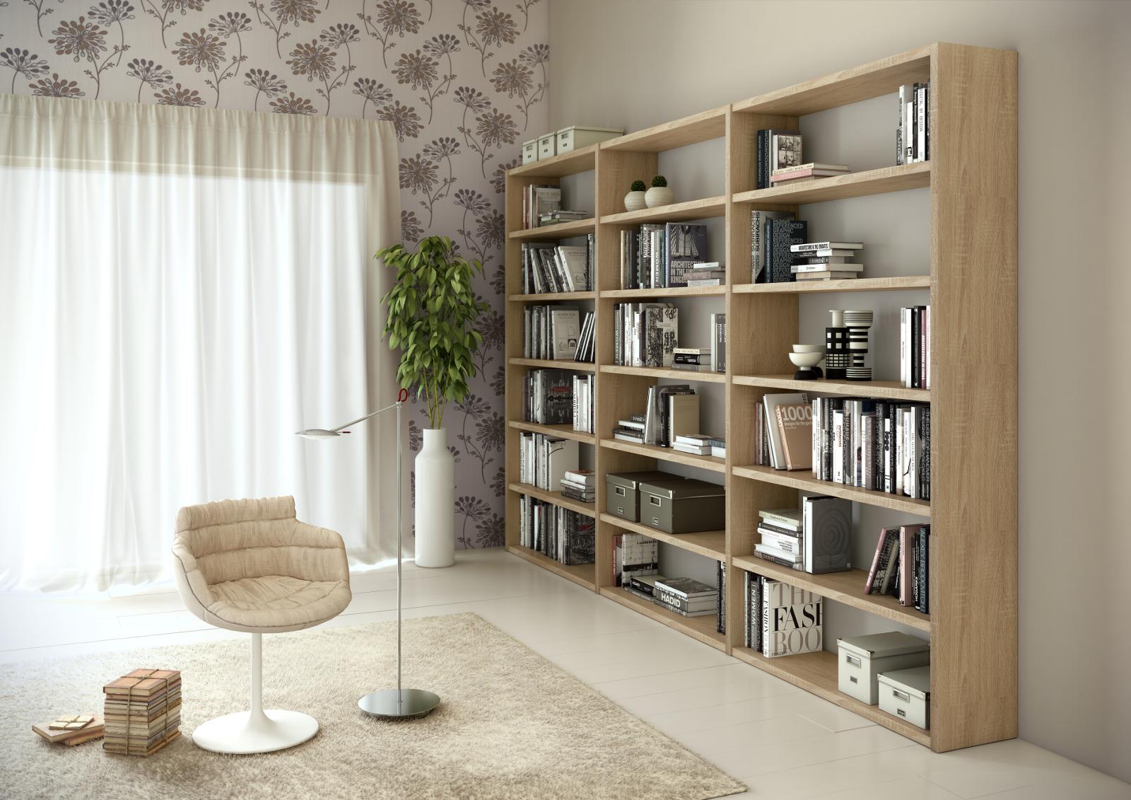 Bücherwand Bibliothek Raumteiler Lack weiß matt